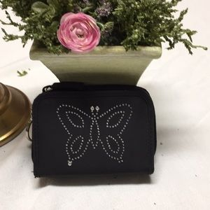 Butterfly ID small wallet with silver colored trim